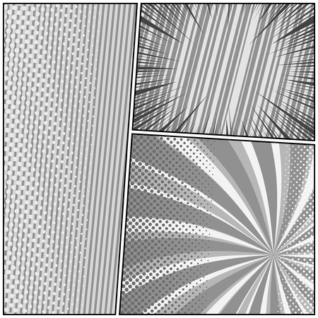 Comic book monochrome template with radial dotted striped halftone slanted lines rays humor effects in gray colors. Vector illustration