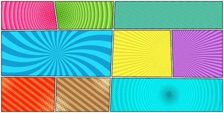 Comic book page colorful horizontal template with halftone radial circles dotted slanted lines effects. Vector illustration