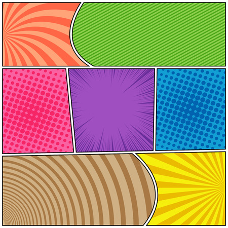 Comic page bright composition with halftone radial striped rays circles humor effects in different colors. Vector illustration