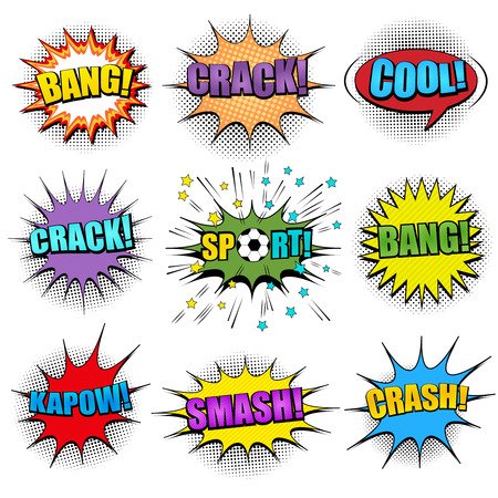 Comic colorful speech bubbles set with Crash Crack Bang Cool Sport Kapow Smash inscriptions sound slanted lines and halftone humor effects. Vector illustration Çizim