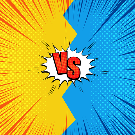 Comic page fight background with red VS letters two opposite blue and yellow sides rays halftone humor effects. Vector illustration Illusztráció