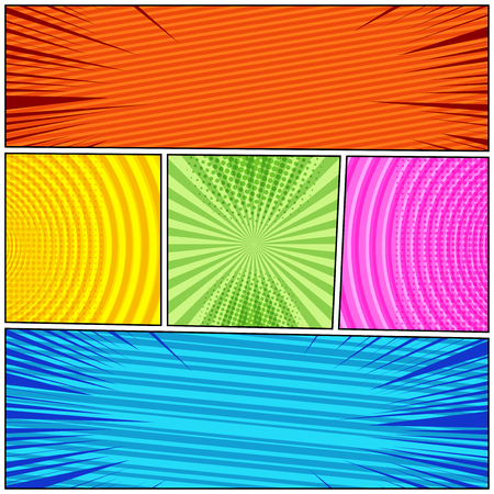 Comic book composition with halftone radial striped rays round humor effects in bright colors. Vector illustration Illustration