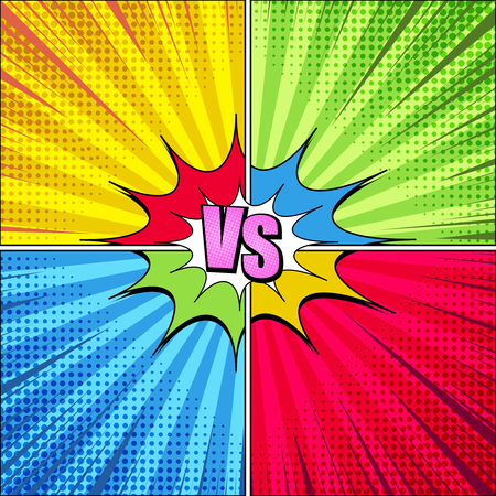 Comic fight elegant concept with VS pink inscription colorful speech bubble rays radial and halftone humor effects on yellow green blue red backgrounds. Vector illustration Illustration