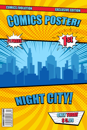 Bright Night City comic poster cover with blue cityscape silhouette speech bubbles rays radial and halftone effects. Vector illustration