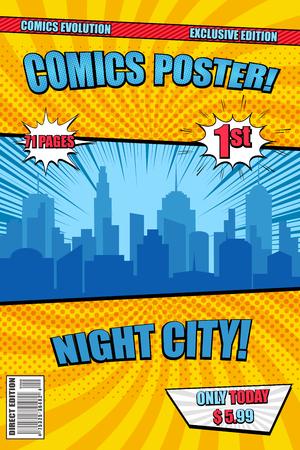Cubierta de cartel cómico de Bright Night City con burbujas de discurso de silueta de paisaje urbano azul rayos radiales y efectos de semitonos. Ilustración vectorial