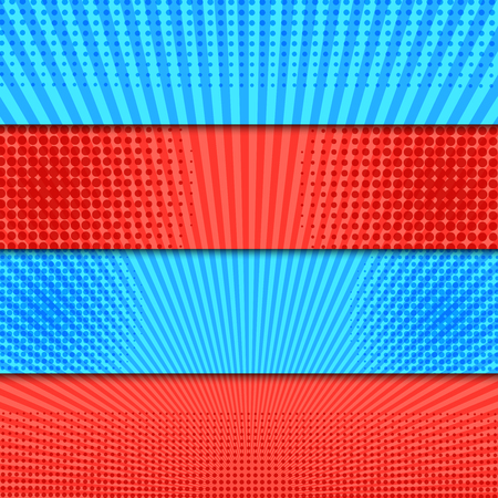 Comic bright horizontal explosive banners with radial halftone effects in red and blue colors. Vector illustration