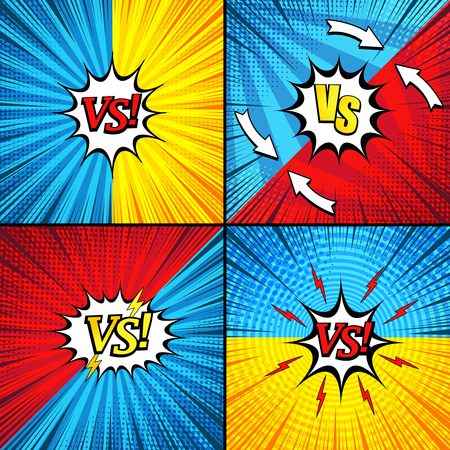 Comic versus backgrounds collection with bright inscriptions speech bubbles rays radial arrows circles lightnings halftone humor effects in yellow red blue colors. Vector illustration Stock fotó - 104630554
