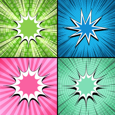 Comic backgrounds collection with blank speech bubbles rays radial dotted circles halftone humor effects in bright colors. Vector illustration