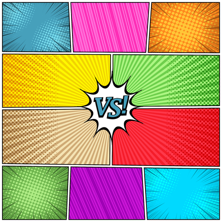 Comic book page background with VS letters speech bubble halftone radial striped rays humor effects in bright colors. Vector illustration