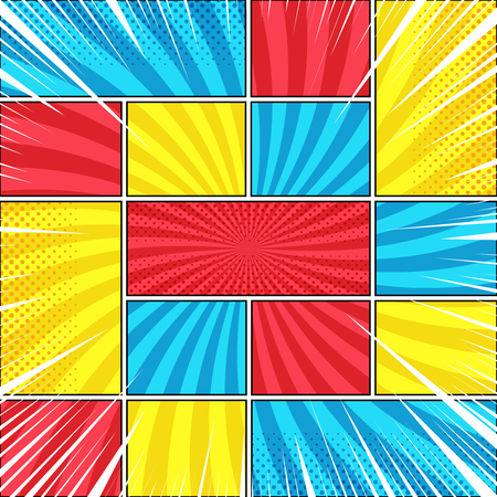 Comic book page bright background with radial halftone rays humor effects in red yellow blue colors. Vector illustration Ilustração