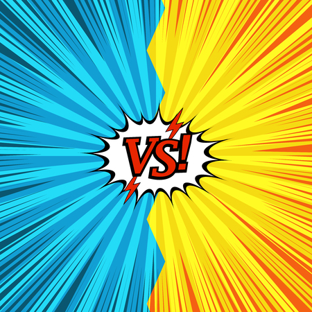 Comic duel explosive concept with red VS inscription lightnings two opposite sides white speech bubble rays radial humor effects in yellow and blue colors. Vector illustration