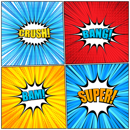 Comic book wordings collection with colorful Crush Bam Bang Super inscriptions radial rays and halftone effects on red yellow blue backgrounds. Vector illustration
