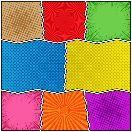 Comic book colorful template with rays halftone radial humor effects and curved dividing lines. Vector illustration Ilustração