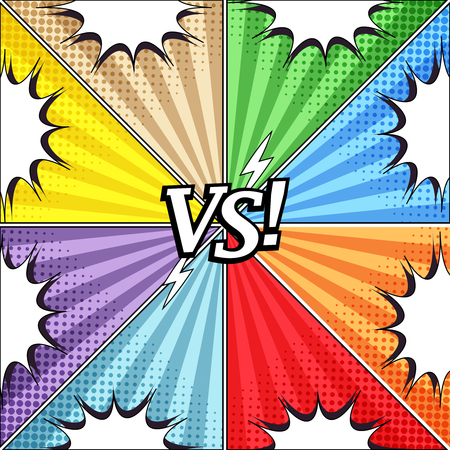 Comic vs colorful concept with eight opposite sides white speech bubbles halftone and radial humor effects. Vector illustration