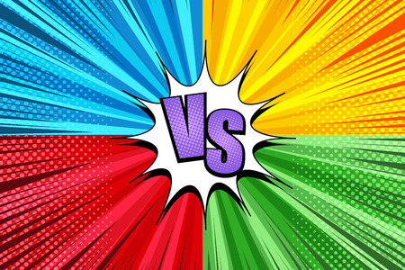 Komisch duel helder explosief concept met vier zijden blauw geel rood groen achtergronden witte tekstballon VS inscriptie stralen halftoon radiale humor effecten. Vector illustratie Vector Illustratie
