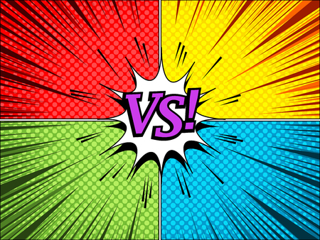Comic dynamic VS concept with red green blue and yellow sides purple wording rays and halftone effects. Vector illustration