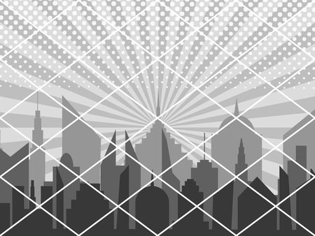 Comic cover monochrome cityscape concept with night city silhouette radial and halftone humor effects in gray colors. Vector illustration Illustration