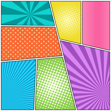 Comic book page colorful composition with different humor effects. Vector illustration Illustration