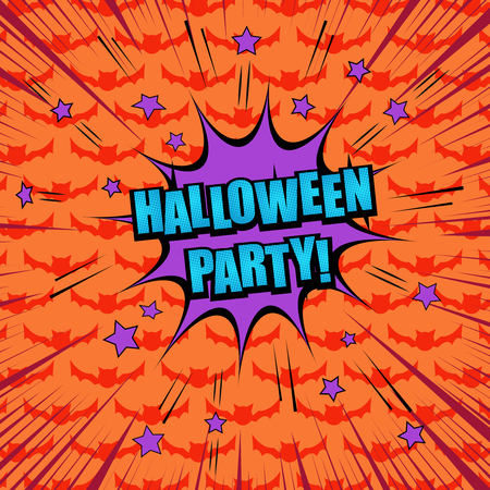 comic halloween party concept with purple speech bubble stars