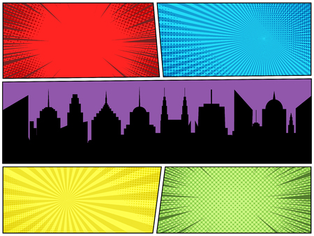Comic book page colorful concept with night city silhouette radial rays halftone dotted humor effects. Vector illustration