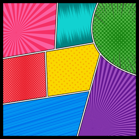 Comic book page background with stripes radial rays halftone dotted humor effects in different colors. Vector illustration