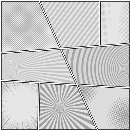 Comic book monochrome background with radial dotted striped circles rays and halftone humor effects in gray colors. Vector illustration
