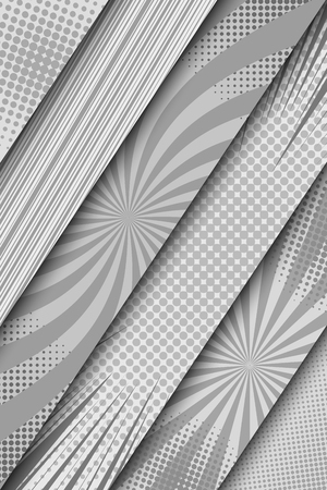 Comic monochrome diagonal banners with rays slanted lines radial and halftone humor effects in gray colors. Vector illustration