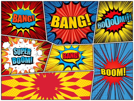 Comic book page burst background with colorful explosive speech bubbles clouds Bang Boom inscriptions sound halftone rays and radial effects in bright colors. Vector illustration