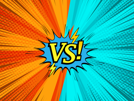 Comic light fight concept with orange and turquoise sides VS wording blue speech bubble lightnings sound rays halftone radial humor effects. Vector illustration Stock fotó - 127271016
