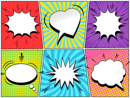 Comic speech bubbles collection with white clouds of different shapes sound radial rays and halftone effects. Vector illustration