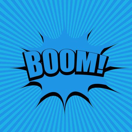 Página de cómic moderno concepto azul moderno con efectos radiales de burbujas de discurso de redacción de auge. Ilustración vectorial Ilustración de vector