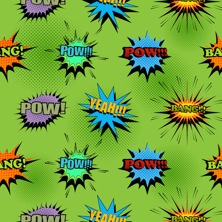 Comic light seamless pattern with colorful Pow Yeah Bang wordings and speech bubbles on green halftone background. Vector illustration