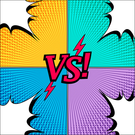 Comic duel and fight concept with VS wording lightnings white speech bubbles in corners halftone and radial humor effects. Vector illustration Illustration