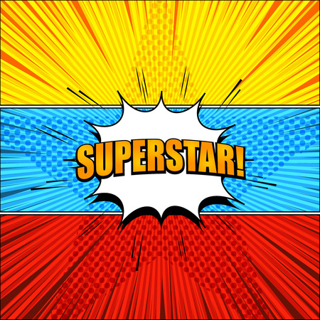 Bright comic super horizontal banners with white speech bubble Superstar wording halftone star rays and radial effects in yellow red blue colors. Vector illustration 向量圖像