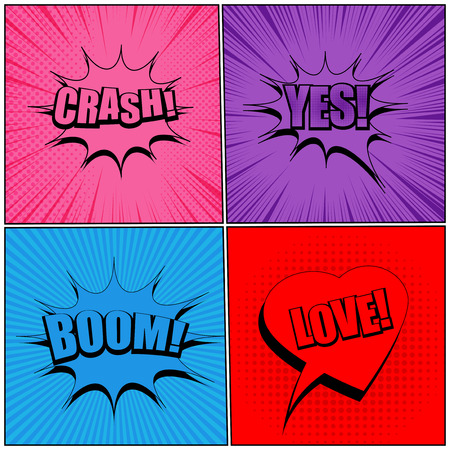 Comic pages original trendy backgrounds with speech bubbles Crash Yes Boom Love wordings and humor effects in pink purple blue red colors. Vector illustration Illustration