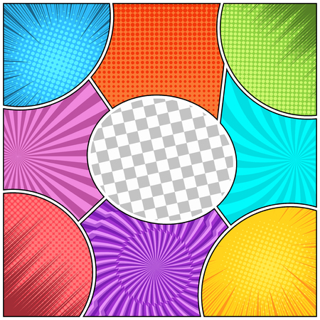 Comic book colorful abstract composition with rays halftone radial dotted lightnings and checkered effects. Vector illustration