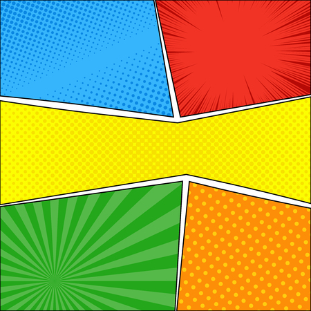 Comic book bright background with rays halftone radial humor effects. Vector illustration