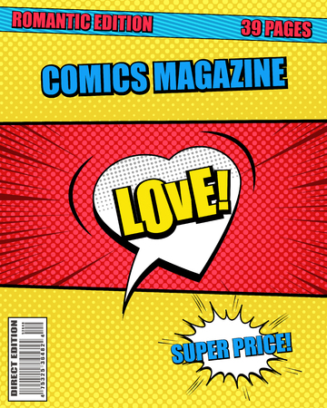 Romantic comics magazine template with heart speech bubble Love wording humor effects in yellow and red colors. Vector illustration
