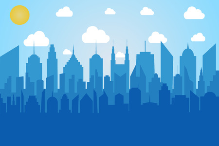 Comic cityscape concept with blue city silhouette sun and clouds in pop art style. Vector illustration