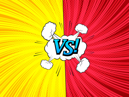 Comic versus template with white speech bubble clouds two red and yellow sides VS blue inscription twisted rays halftone and radial humor effects. Vector illustration