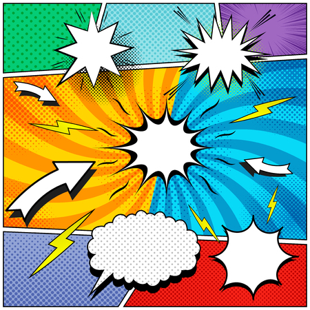 Comic book page background with speech bubbles lightnings sound arrows halftone rays and radial effects in different colors. Vector illustration