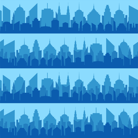 Comic blue cityscape seamless pattern with blue city silhouette in pop art style. Vector illustration