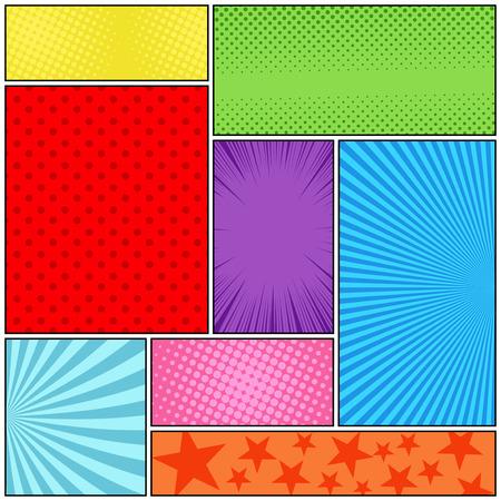 Composizione colorata pagina di fumetti