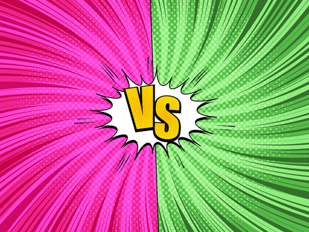 Comic fight and duel bright concept with white speech bubble VS wording two pink and green sides twisted rays halftone radial humor effects. Vector illustration Stock fotó - 120357667