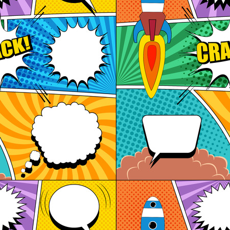 Comic bright seamless pattern with white speech bubbles rocket launch Crack wording clouds radial halftone sound humor effects. Vector illustration