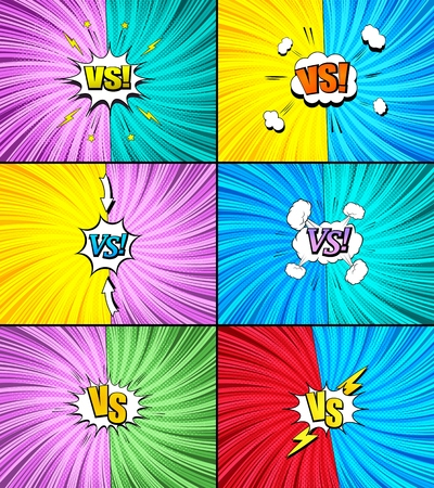 Comic fight and duel backgrounds set with white speech bubbles clouds colorful VS wordings lightnings arrows and different humor effects vector illustration