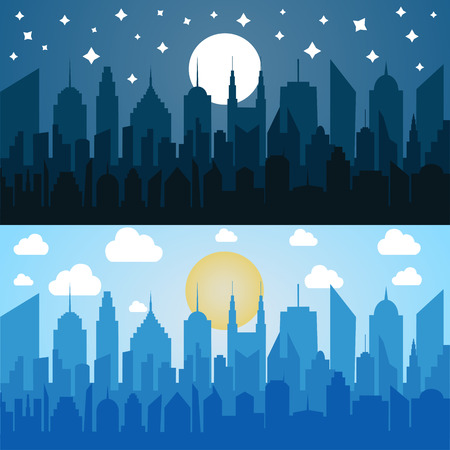 Flat blue cityscapes horizontal banners with city silhouettes in daytime and night vector illustration