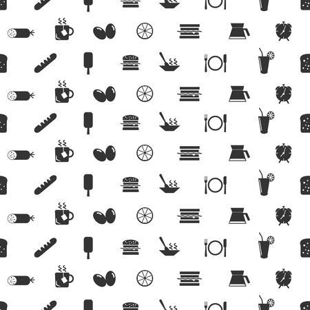 Flat breakfast seamless pattern with ice cream tea cup sandwich eggs lime plate knife fork alarm clock bread sausage icons in monochrome style vector illustration