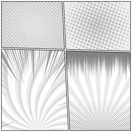 Comic monochrome design template with radial rays and halftone humor effects. Vector illustration