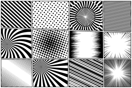 Comic book pages composition with radial rays slanted lines spiral dotted lightnings halftone humor effects in black and white colors. Vector illustration